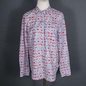 J Crew Liberty Art Fabrics Floral Popover Blouse